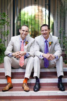 orange and purple attire.