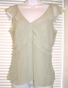 CALVIN KLEIN Romantic Lined SILK Chiffon Empire Baby Doll Top Sz 4 Small Lt Mint