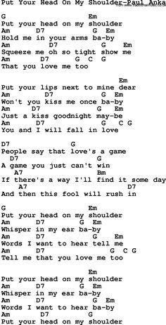 Put your head on my shoulder 🎶 Paul Anka Ukulele Tabs Songs, Ukulele Fingerpicking Songs, Ukulele Songs Beginner, Guitar Chords And Lyrics, Piano Songs, Guitar Songs, Paul Anka, Pentatonix, Kari Jobe