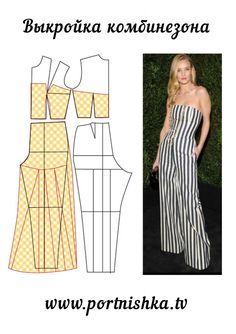 Illustration showing how to alter a standard bodice and pant pattern to create this jumpsuit
