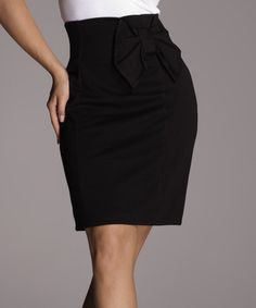Another great find on #zulily! Black Bow Pencil Skirt #zulilyfinds