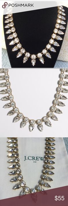 """J CREW CRYSTAL NECKLACE  NWT J Crew necklace  this has a substantial amount of crystals. It's a mix of round multi faceted crystal stones with pear shape crystals attached, set in a light gold ox plating. Beautiful necklace, 18"""" with 3""""extender J. Crew Jewelry Necklaces"""