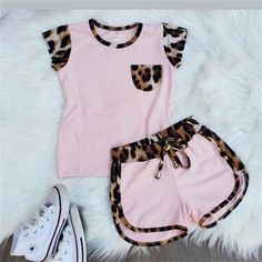 Informations About Pudcoco Toddler Girl Short Sleeve Leopard Tops Shirt Pin You can easily use my pr Dresses Kids Girl, Little Girl Outfits, Kids Outfits Girls, Toddler Girl Outfits, Cute Outfits, Formal Outfits, Rock Outfits, Emo Outfits, Toddler Girl Shorts
