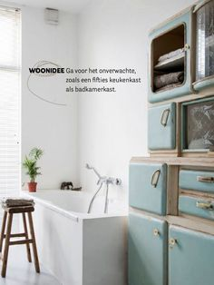 fifties keukenkast in de badkamer