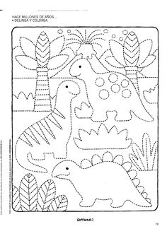dinosaur color page Dinosaurs Preschool, Preschool Writing, Preschool Worksheets, Kindergarten Activities, Activities For Kids, Drawing For Kids, Art For Kids, Colouring Pages, Coloring Books
