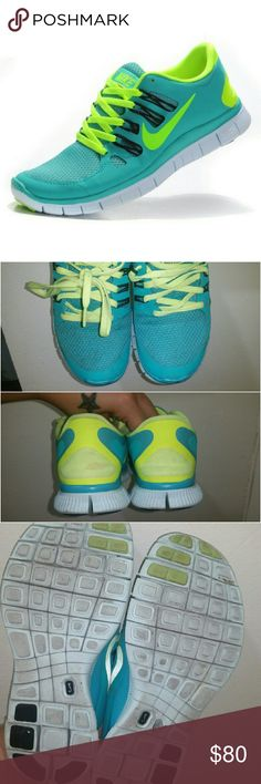 Nike free 5.0 turquoise Barely worn. In great condition! ! Super comfortable  Women's size 6.5  Make me an offer! :) Nike Shoes Sneakers