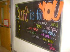 bulletin board in my classroom (chalk)
