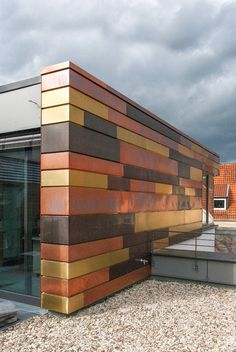 Copper concept, Germany Facade Design, Wall Design, House Design, Pin It, Color Cobre, Metal Facade, Interesting Buildings, Unique Architecture, Cladding