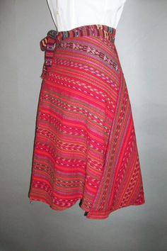 1970s Wrap Around Flared Skirt // Folk Design // Heavy Woven Cotton...small/medium