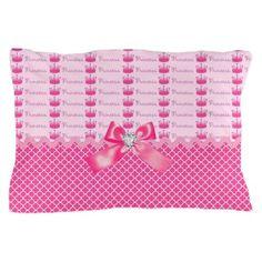 Fancy Pink Princess Crowns Pillow Case