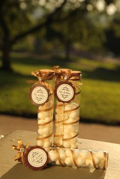 """6"""" Glass Tube Mr and Mrs Wedding Favors"""