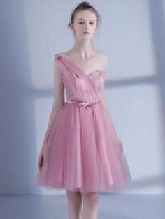 One-Shoulder Pink Flowers Pleats Homecoming Dress