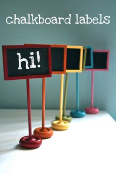 Love these little DIY standing labels -  would be great for home decor, play rooms, parties or craft shows!