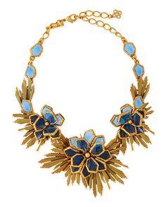 Y2MFR Oscar de la Renta Blue Wild Flower Necklace