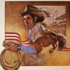 American Illustration, Illustration Art, Thomas Blackshear, Western Wild, Rodeo Cowboys, Dark Art Drawings, Classical Art, Illustrators, Fine Art