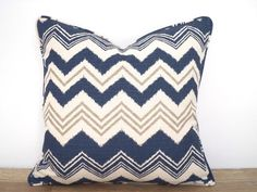 Blue throw pillow cover 18x18, geometric cushion for boy room decor, blue and gray pillow case nautical decoration, chevron cushion for sofa by anitascasa on Etsy https://www.etsy.com/listing/72512452/blue-throw-pillow-cover-18x18-geometric