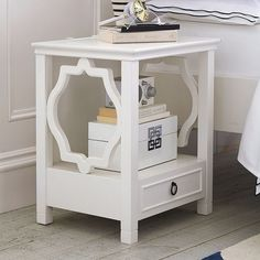 PB Teen Elsie Bedside Table at Pottery Barn Teen - Nightstands - Teen... ($249) ❤ liked on Polyvore featuring home, furniture, storage & shelves, nightstands, white bedside table, white storage shelves, pbteen, white book shelves and white night table