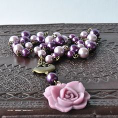 Song for Rose Purple Pearl Necklace with Bird & Flower Charm £13.00