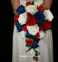 Red White and Blue Wedding Bouquet. Perfect for a of July wedding Army Wedding, Our Wedding, Dream Wedding, Military Weddings, Wedding Flower Guide, Blue Wedding Flowers, Blue Flowers, Blue Roses, Blue Orchids