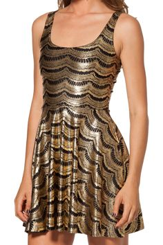 Lashes Gold Reversible Skater Dress - LIMITED - L