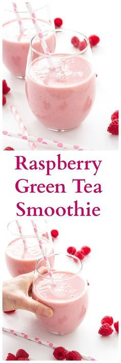 Raspberry Green Tea Smoothie   Green tea replaces juice and milk in this healthy and delicious smoothie!