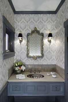 Corian, Wainscotting, Crown molding, Craftsman, Traditional, Wallpaper, Undermount, Powder/Half Bath, Wall sconce