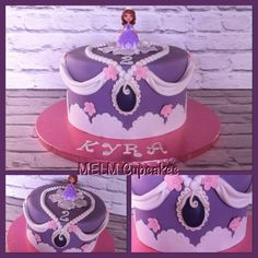 Sofia the first cake Sofia The First Cake, Tiered Cakes, Eve, Cupcakes, Girls, Desserts, Food, Log Projects, Princesses