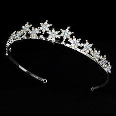 Sparkling Light Blue Silver Plated Snowflake Winter Wedding Bridal Tiara - Affordable Elegance Bridal -