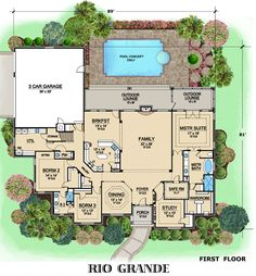 Home design with safe room. I'm not sure if I'd have my kids bedrooms that far away from our master and the safe room, just saying.