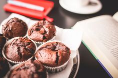 Free Image: Sweet Muffins with A Book   Download more on picjumbo.com!