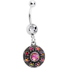 Pink Faux Opal Enclosed Flower Dangle Belly Ring