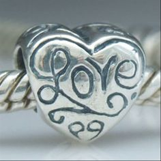 Love Heart Authentic 925 Sterling Silver Beads  Fits Chamilia Beads