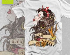 T-SHIRT Old School Tattoo Lady Vintage America style gypsy Swallows Rose