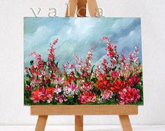"""Beauty Of Flowers 3x4"""" miniature otiginal oil painting, gift item, red and pink flowers"""