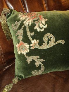 Antique Silk Velvet Chenille Art Nouveau Floral Metallic Applique Pillow with Metallic Bullion Tassels. $400.00, via Etsy.