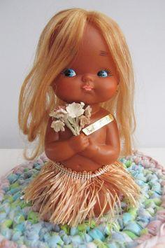 Vintage Rubber-Vinyl Doll,Hawaii Hula Girl,Grass Skirt,Made in Japan,Sanrio,Surfers Paradise, Souvenir,Rare Kitsch Collectable