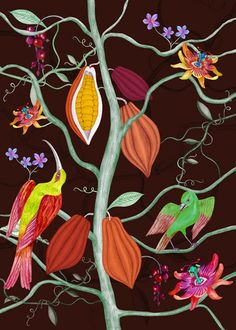 floral, fika, cocoa, botanical illustration