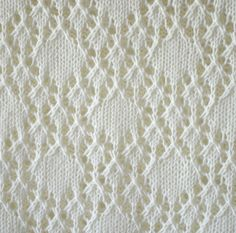 closeup for knitted lace pattern with rhombs