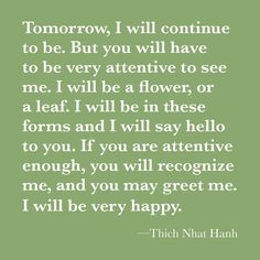 Tomorrow, I will continue to be. But you will have to be very attentive to see me. I will be a flower, or a leaf. I will be in these forms and I will say hello to you. If you are attentive enough, you will recognize me, and you may greet me. I will be very happy.   Grief Loss Thich Nhat Hanh.