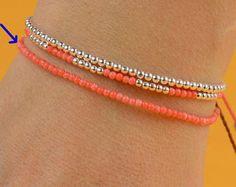 Tangerine color tiny beads bracelet by zzaval on Etsy, Ankle Bracelets, Silver Bracelets, Jewelry Bracelets, Diamond Bracelets, Bangles, Beaded Anklets, Beaded Jewelry, Handmade Jewelry, Jewelry Making Beads