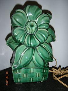 Vintage McCoy Green Sunflower Lamp  1956 by JOPPS on Etsy, $43.00