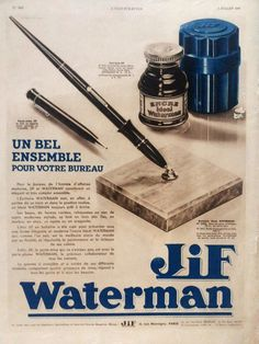 Jif #Waterman fountain pen replacement ink vintage #ad by OldMag, $10.00