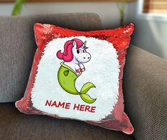 Mermaid Unicorn Personalized Sequin Cushion cover with your name unicorn sequin pillow personalised sequin cushion cover magic sequin cover by funkytshirtsfactory on Etsy Sequin Pillow, Unicorn Cushion, Cushion Covers, Soft Fabrics, Mermaid, Cushions, Sequins, Magic