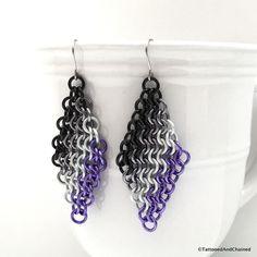 Ace pride flag chainmaille earrings, European 4 in 1