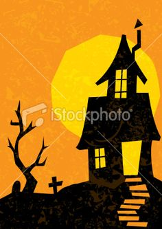 retro style haunted house complete with grunge distress Halloween Crafts, Halloween Decorations, Harvest Day, House Vector, Free Vector Art, Retro Fashion, Illustration, Grunge, Royalty