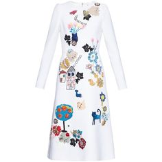 Dolce & Gabbana Child drawing embellished wool-crepe dress (€7.995) ❤ liked on Polyvore featuring dresses, white, embellished dresses, white sequin dress, white longsleeve dress, white crepe dress and wool crepe dress