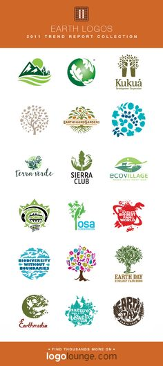 2011 LogoLounge Trend Report Collection - Earth Logos Nature is the common theme with these logos, often featuring a cluster of images to represent several things, or the wide reach of the company. Typography Logo, Logo Branding, Branding Design, Daycare Logo, Spice Logo, Earth Logo, Car Logo Design, Hand Lettering Art, Portfolio Logo
