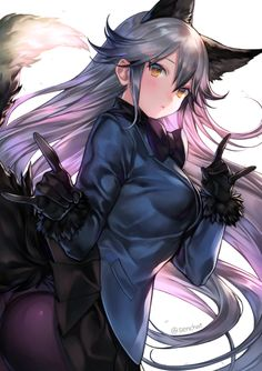 Anime Wolf Girl, Manga Anime Girl, Cool Anime Girl, Anime Neko, Anime Girls, Chica Anime Sensual, Chica Gato Neko Anime, Art Manga, Fox Girl