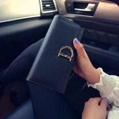 2016 الجديدة النساء محافظ العلامة التجارية عالية الجودة الفاصل حقيبة بو الجلود د إلكتروني سعة كبيرة محفظة فاخرة تصميم بطاقة حامل