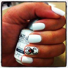 Spider design on White Nails!